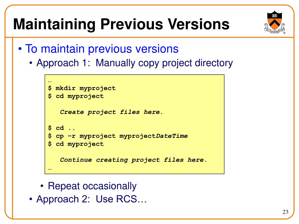 Maintaining Previous Versions