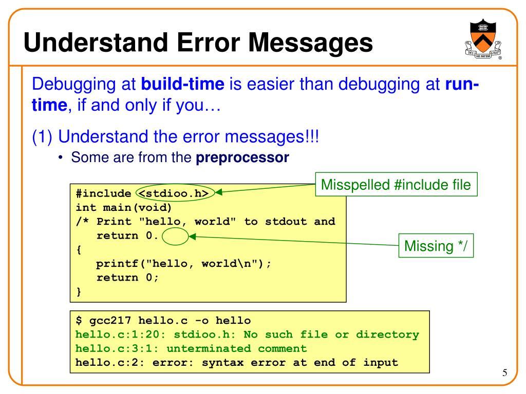 Understand Error Messages