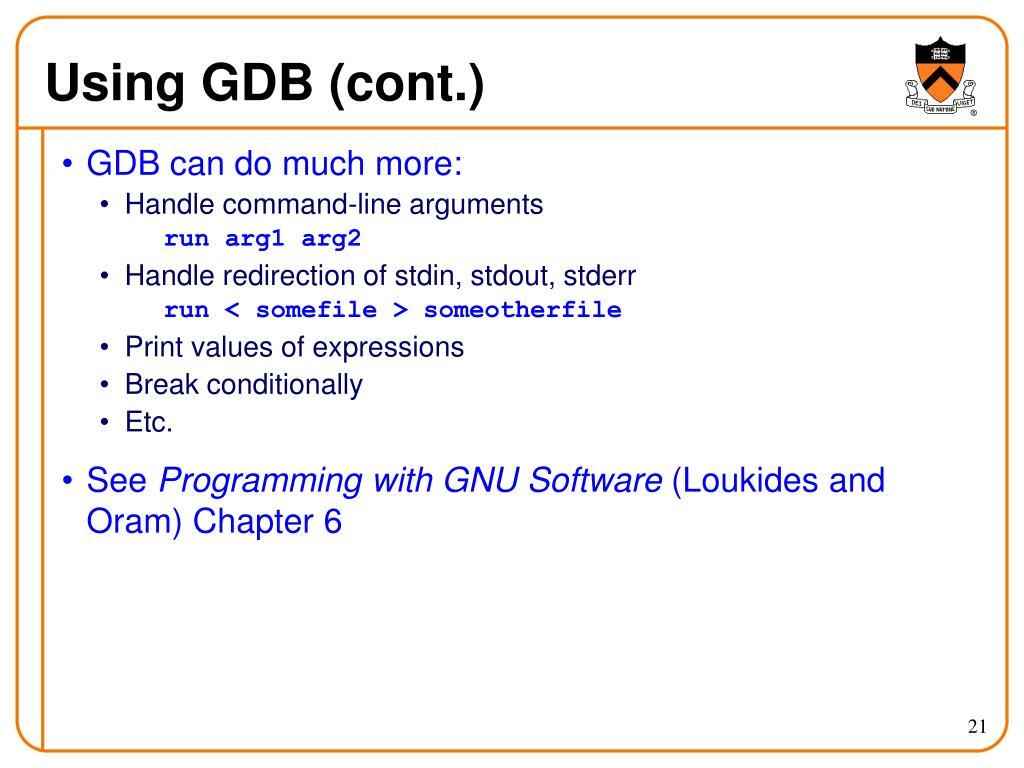 Using GDB (cont.)