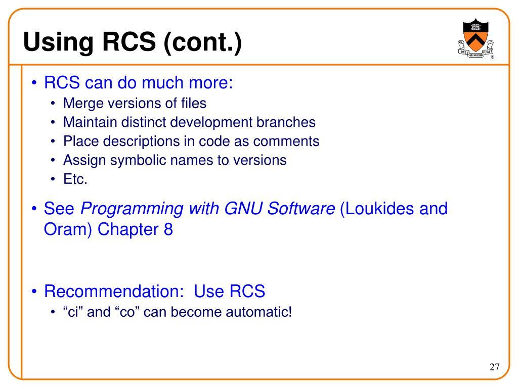 Using RCS (cont.)