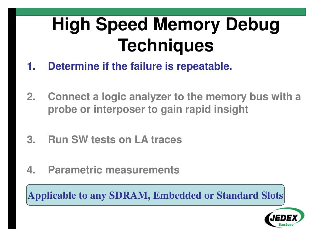 High Speed Memory Debug Techniques