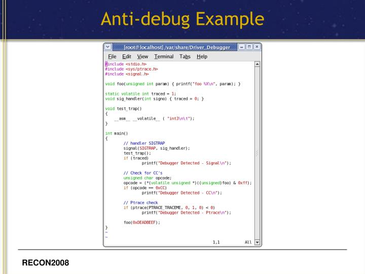 Anti-debug Example