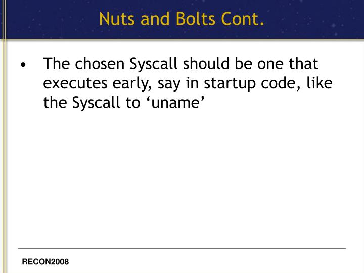 Nuts and Bolts Cont.
