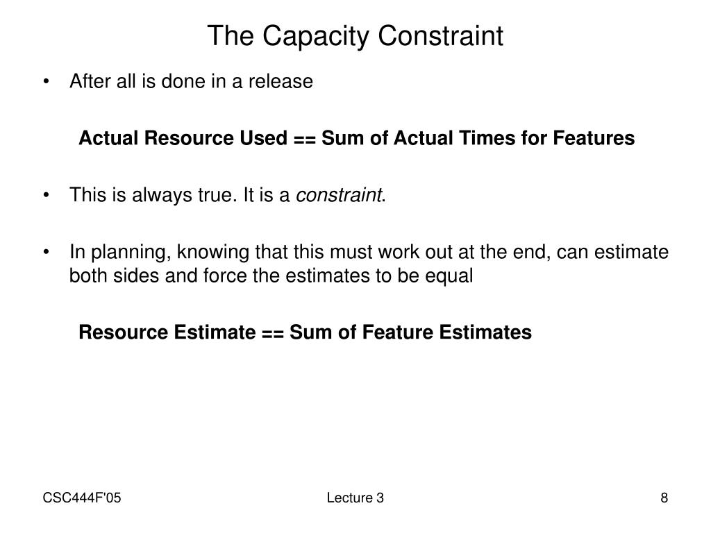 The Capacity Constraint