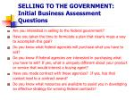 selling to the government initial business assessment questions