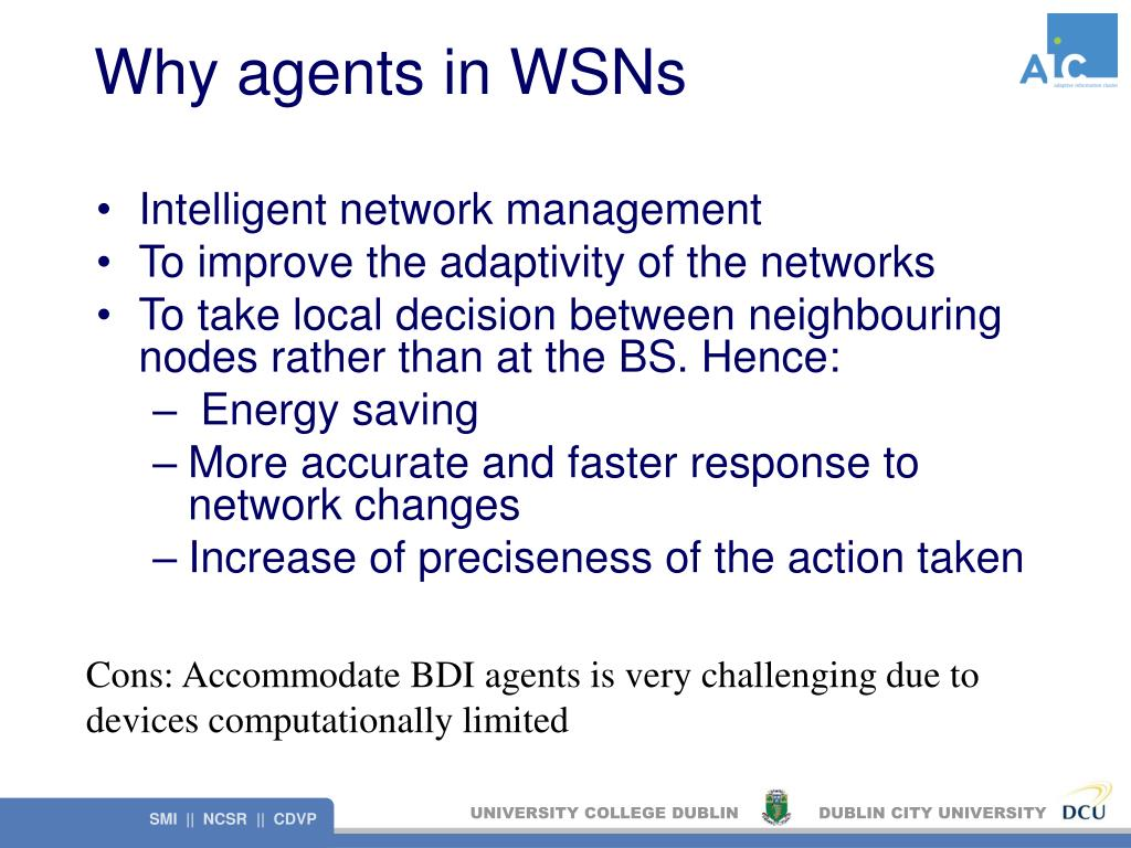 Why agents in WSNs