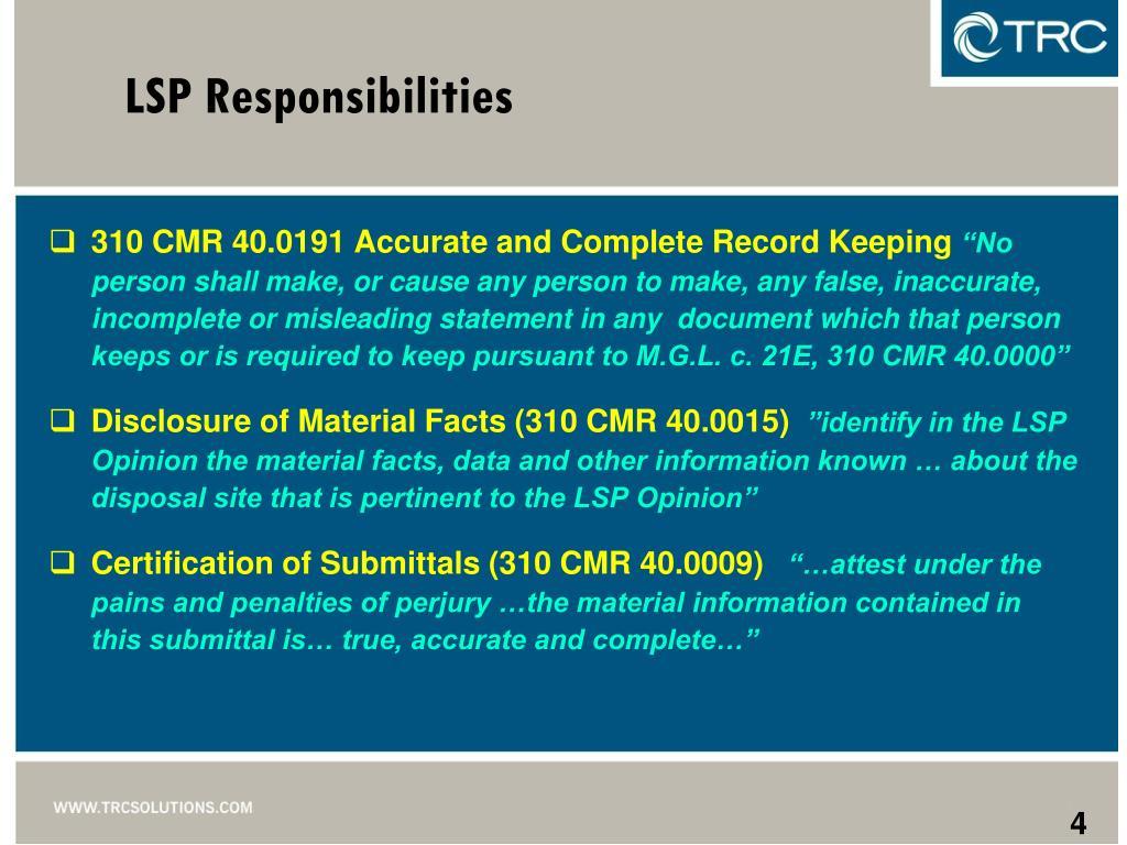 LSP Responsibilities