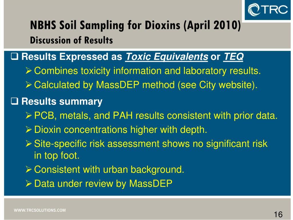 NBHS Soil Sampling for Dioxins (April 2010)