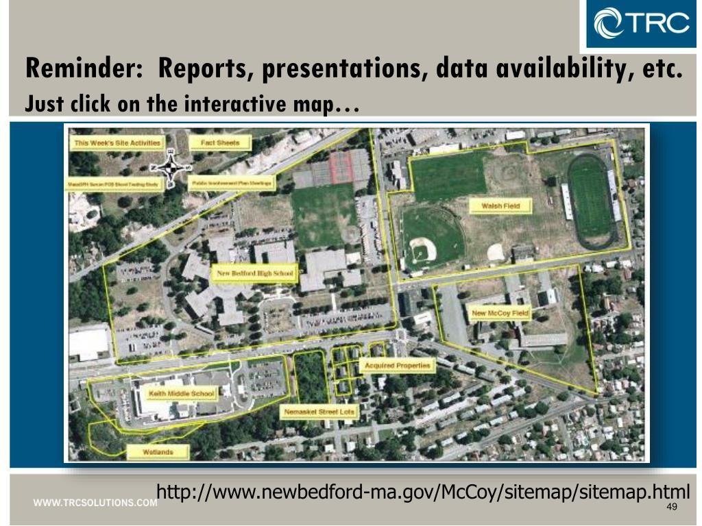 Reminder:  Reports, presentations, data availability, etc.