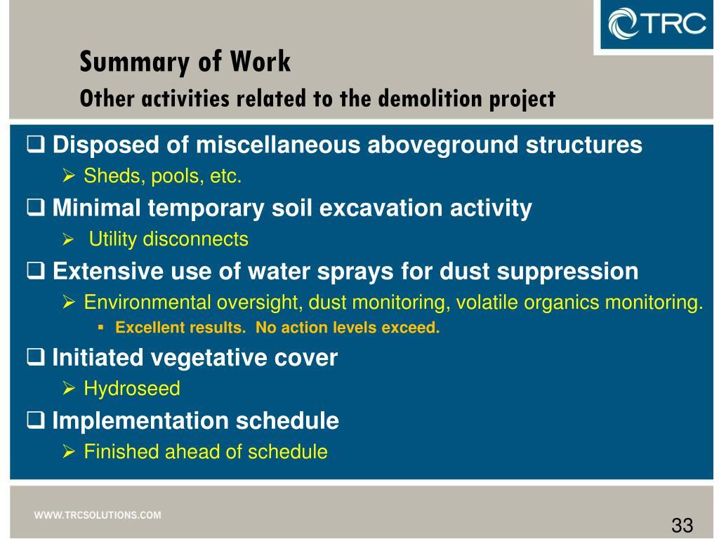 Summary of Work
