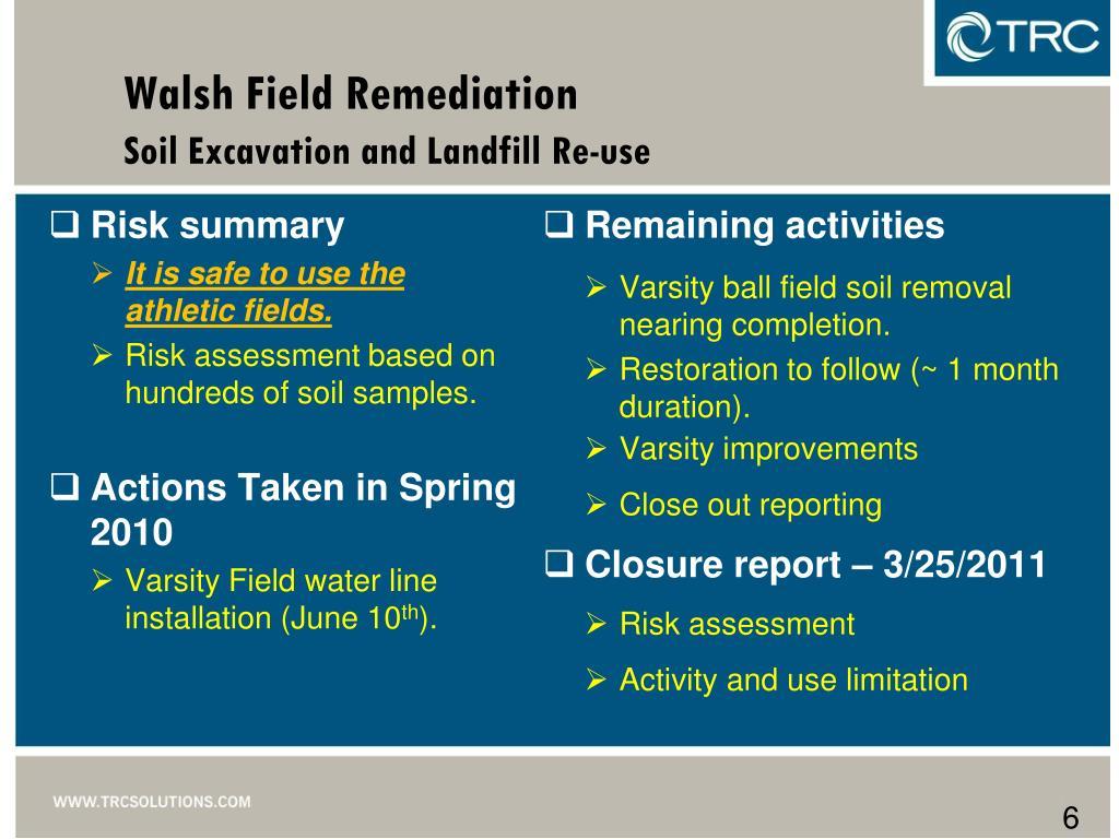 Walsh Field Remediation