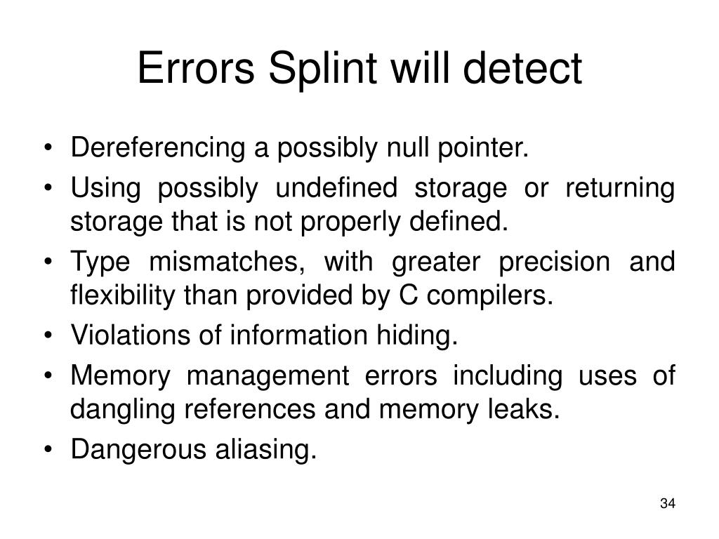 Errors Splint will detect