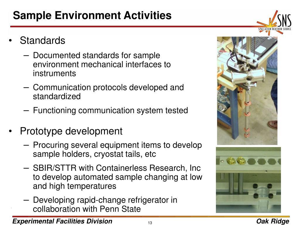 Sample Environment Activities