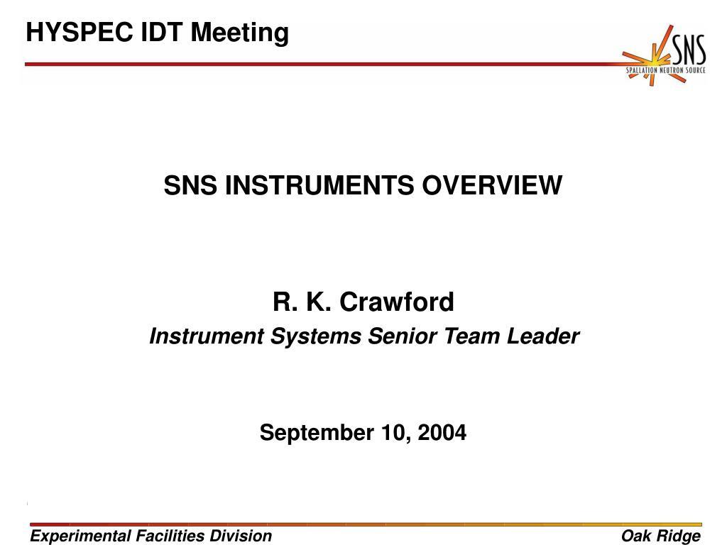 HYSPEC IDT Meeting