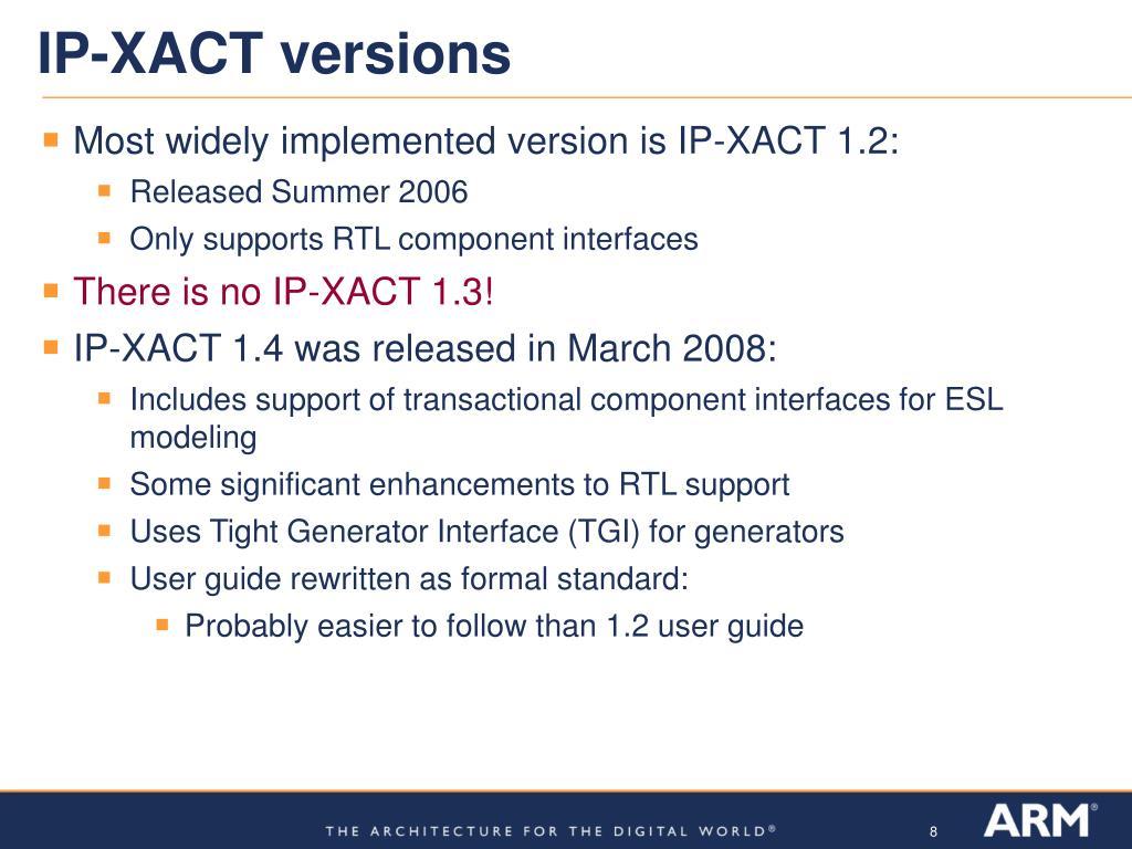 IP-XACT versions