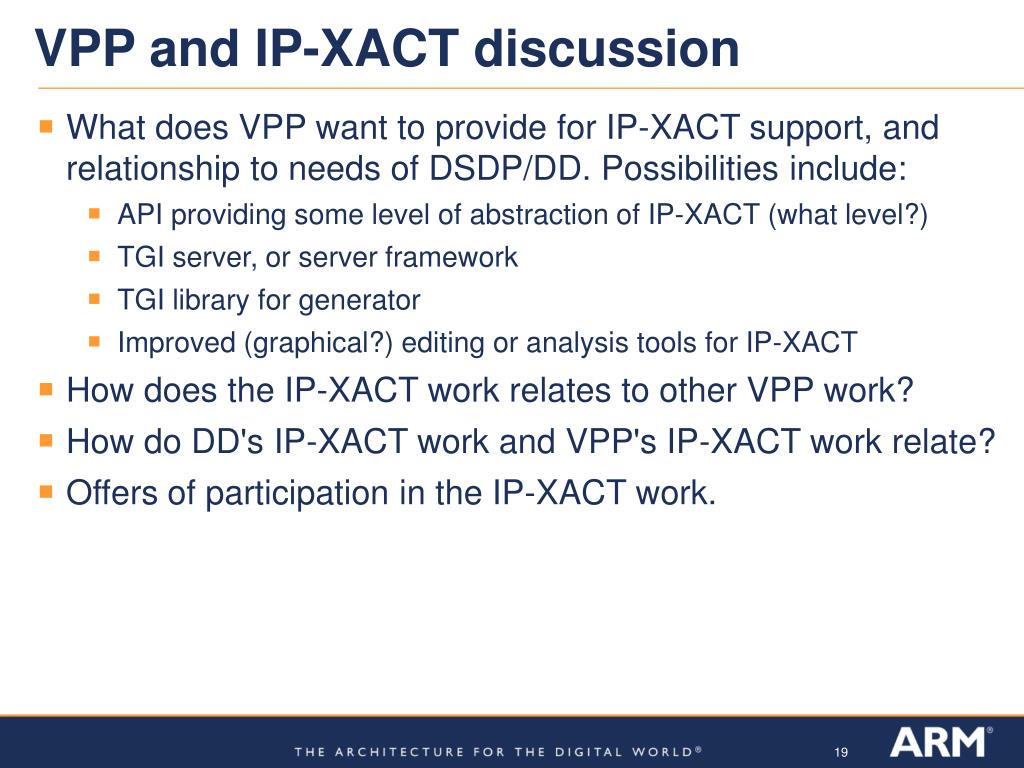 VPP and IP-XACT discussion