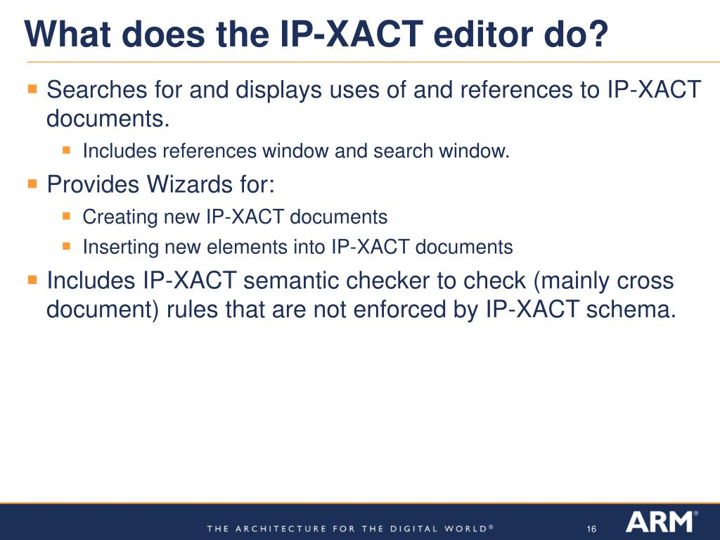 What does the IP-XACT editor do?