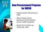 new procurement program for wosb