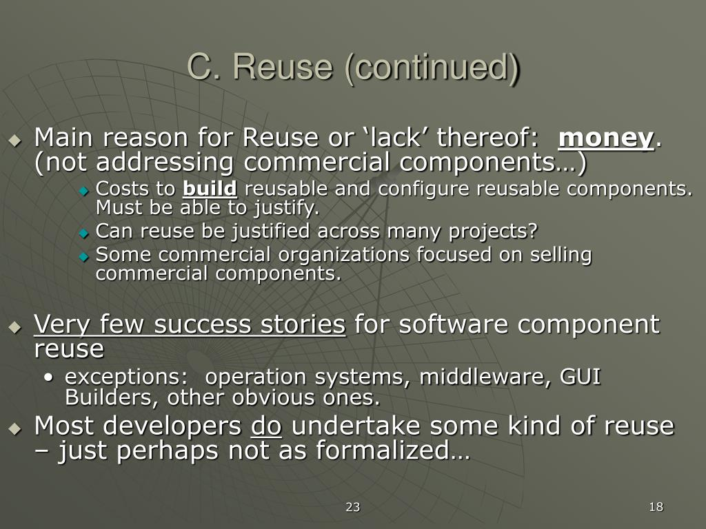 C. Reuse (continued)