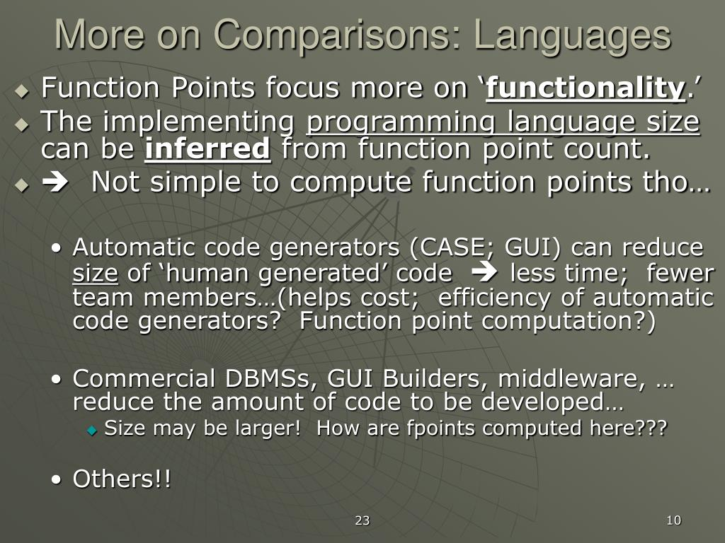 More on Comparisons: Languages