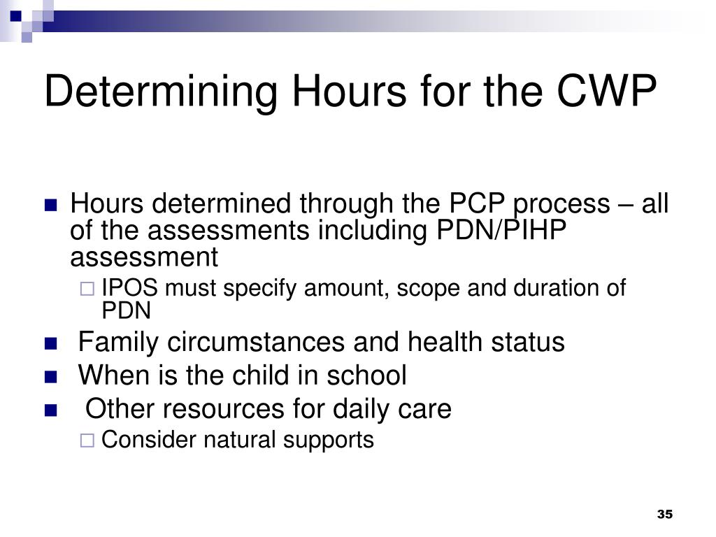 Determining Hours for the CWP