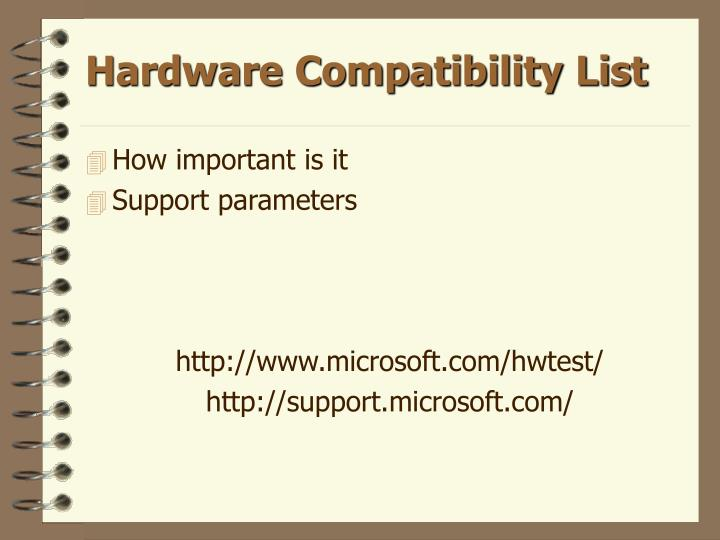 Hardware compatibility list