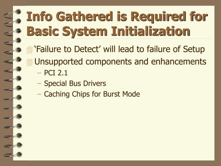 Info Gathered is Required for Basic System Initialization