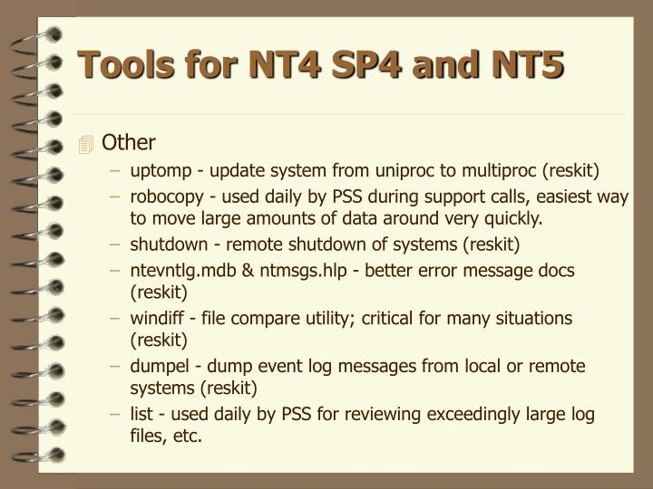 Tools for NT4 SP4 and NT5