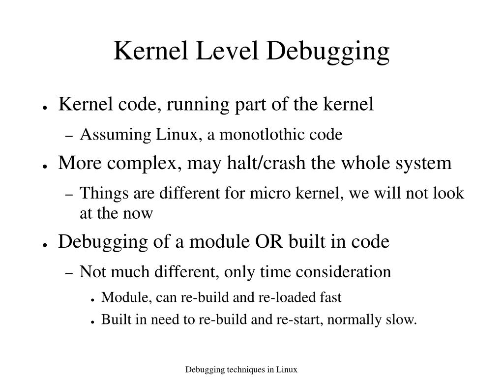 Kernel Level Debugging