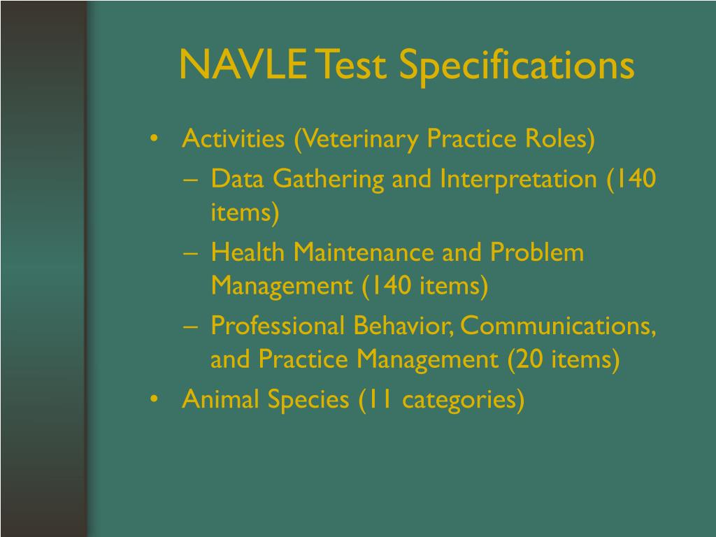 NAVLE Test Specifications