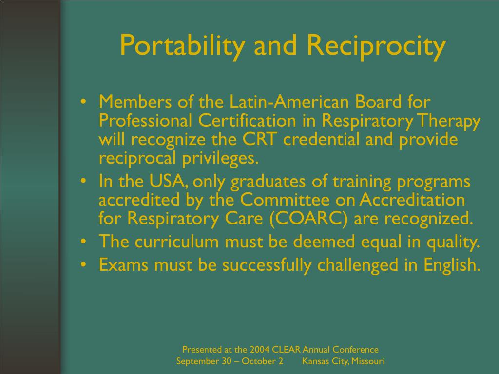 Portability and Reciprocity