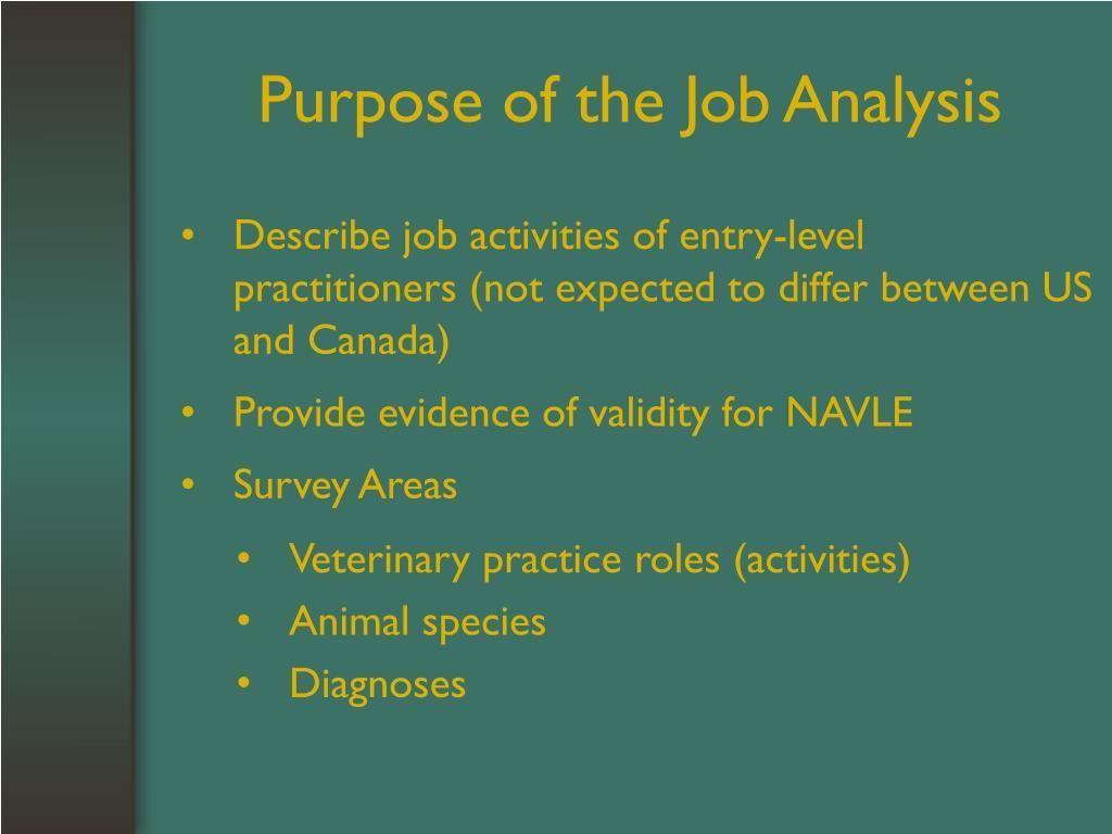 Purpose of the Job Analysis