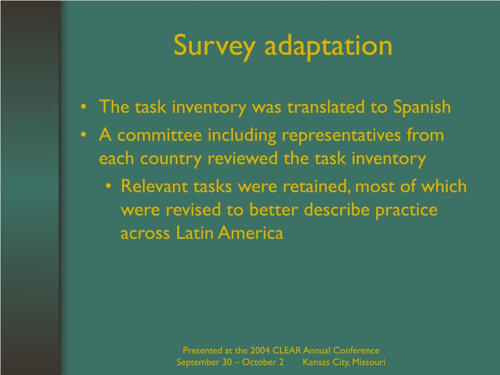 Survey adaptation