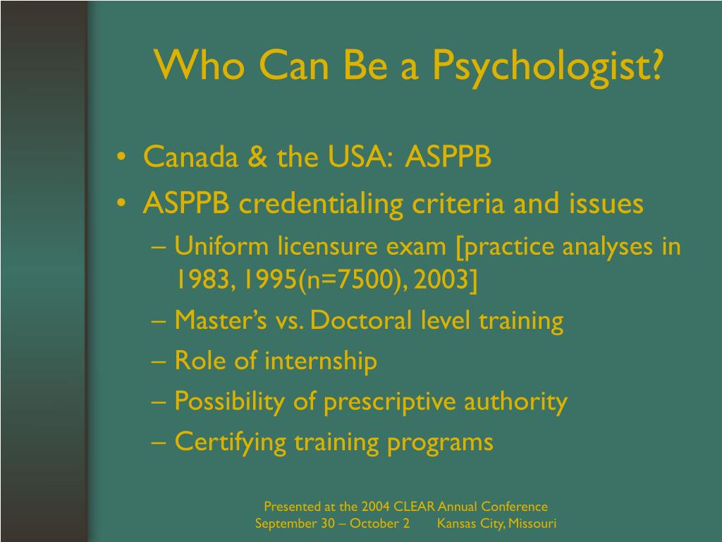 Who Can Be a Psychologist?