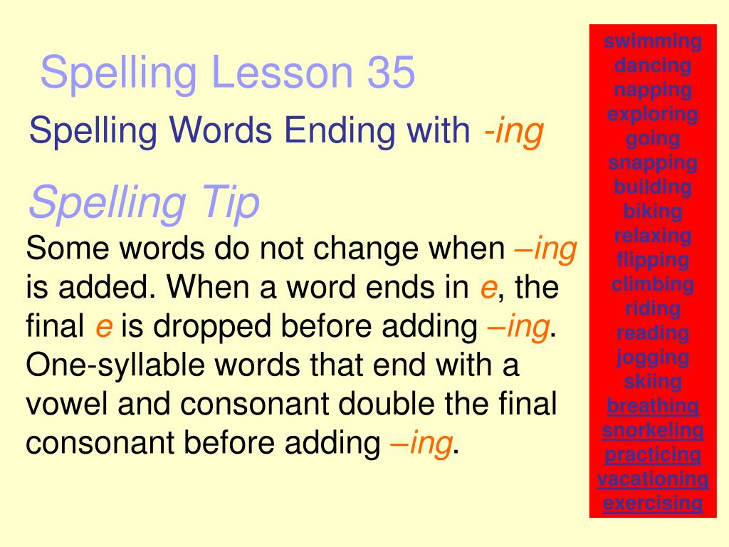 spelling lesson 35 l.