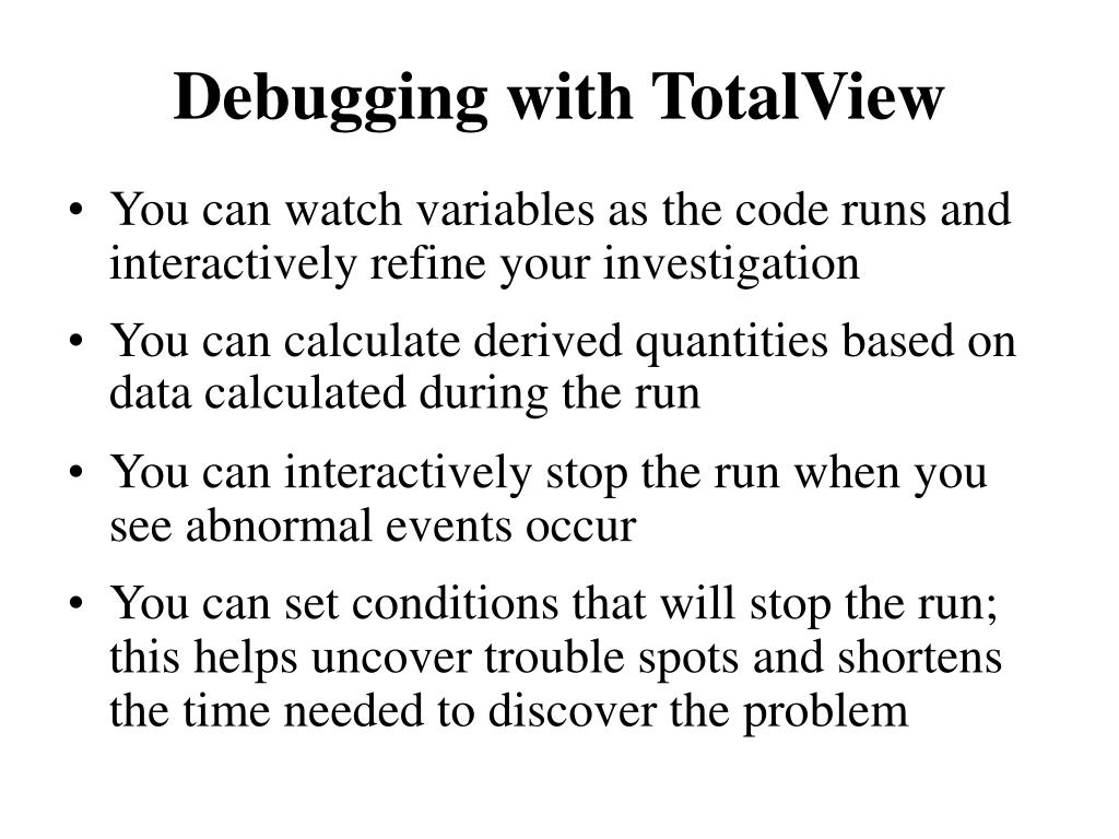 Debugging with TotalView