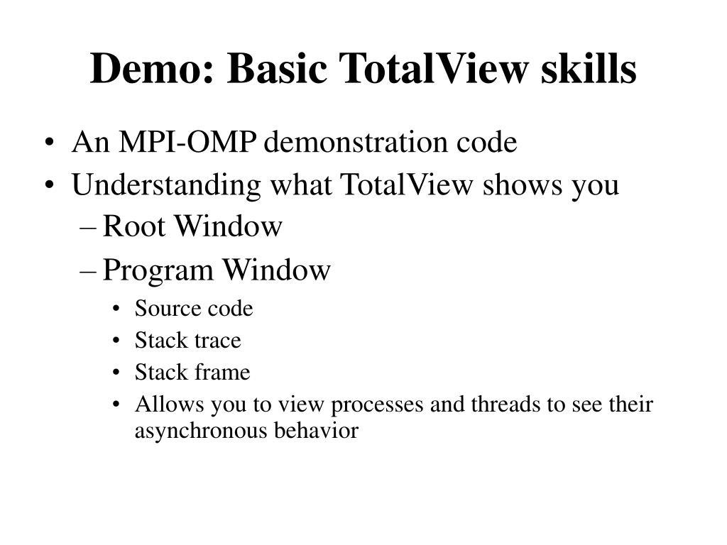 Demo: Basic TotalView skills