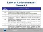 level of achievement for element 3
