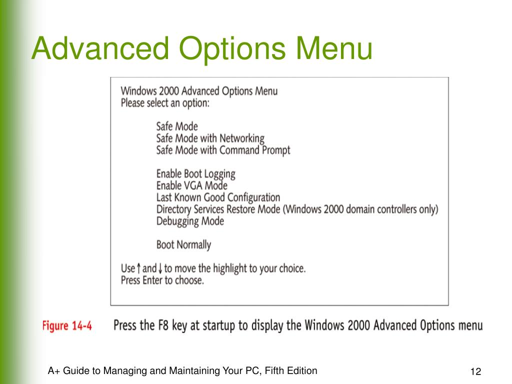 Advanced Options Menu