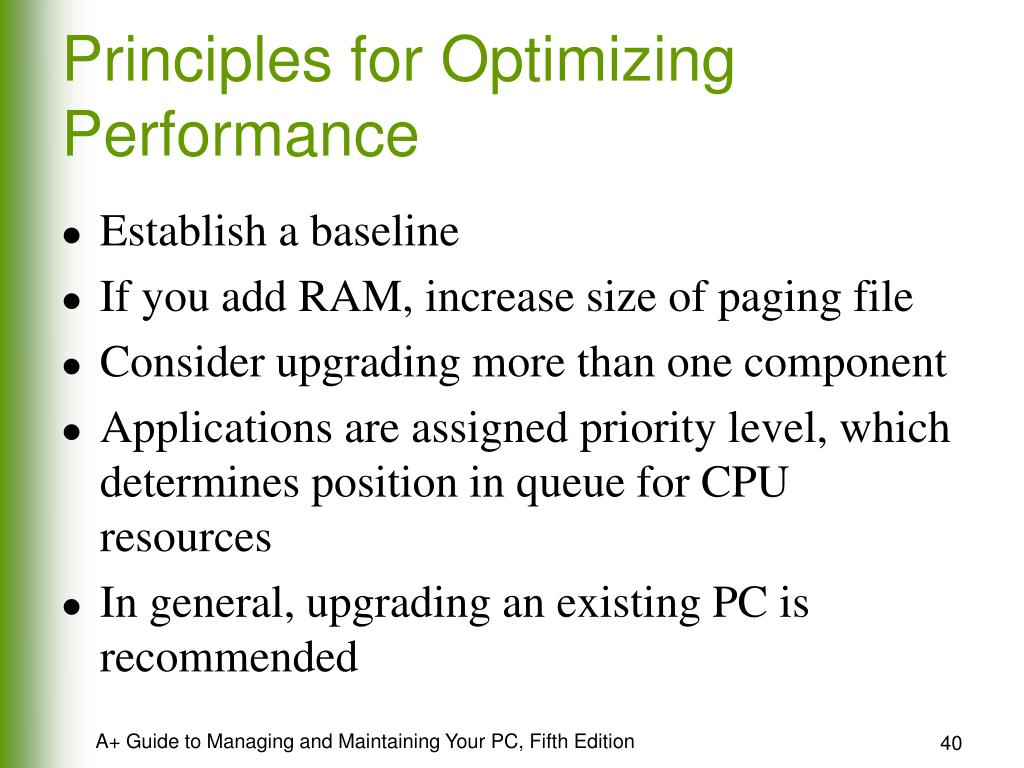 Principles for Optimizing Performance