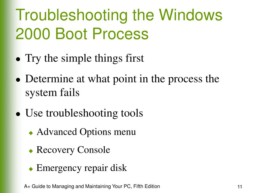 Troubleshooting the Windows 2000 Boot Process