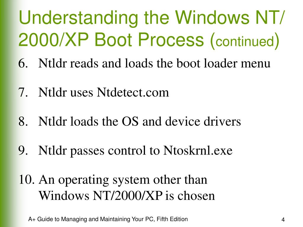 Understanding the Windows NT/ 2000/XP Boot Process (