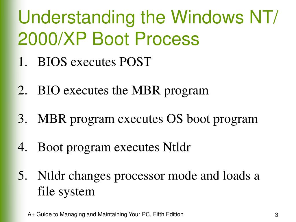 Understanding the Windows NT/ 2000/XP Boot Process