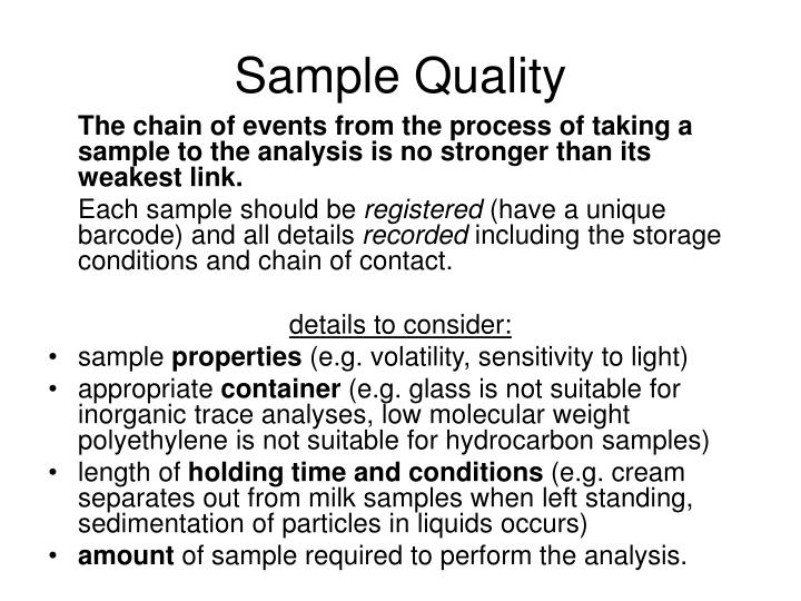 Sample Quality