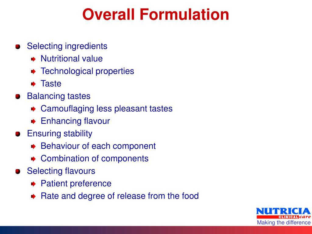 Overall Formulation