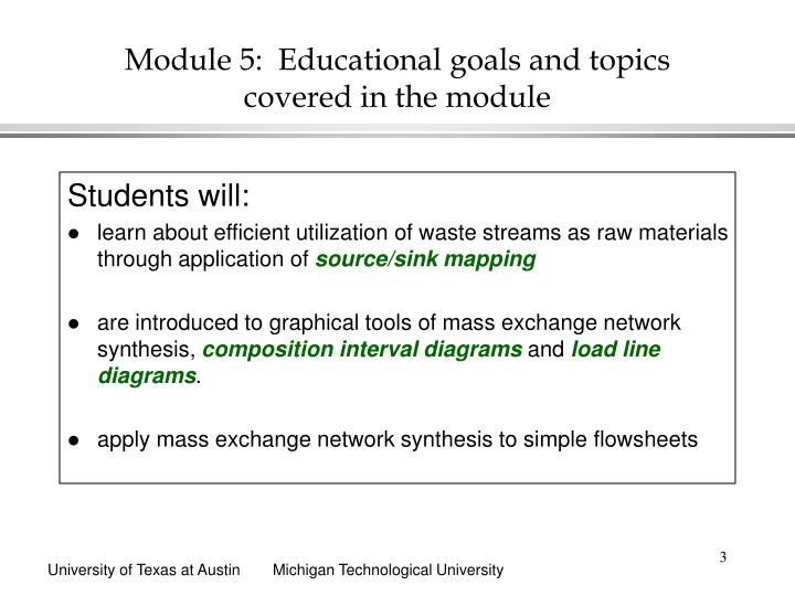 Module 5 educational goals and topics covered in the module