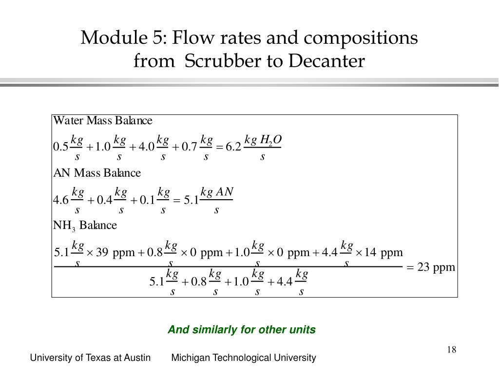Module 5: Flow rates and compositions