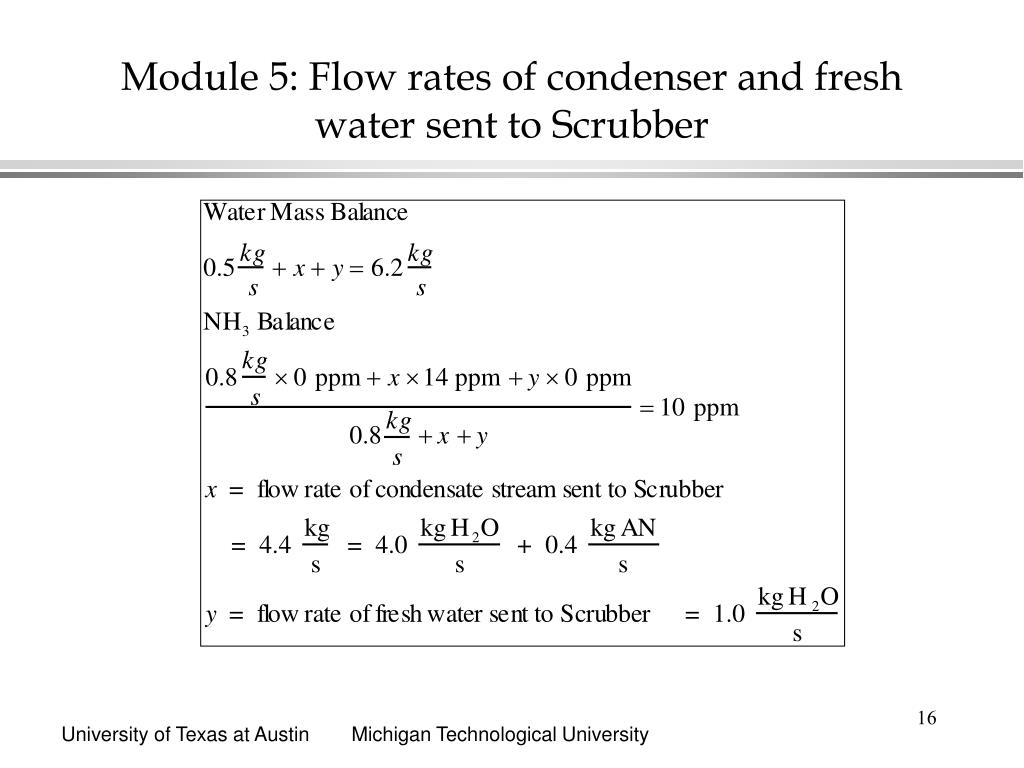 Module 5: Flow rates of condenser and fresh water sent to Scrubber