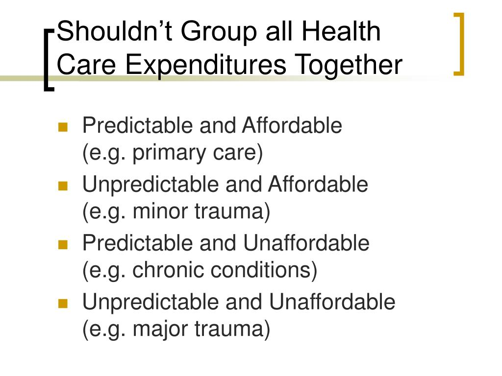 Shouldn't Group all Health Care Expenditures Together