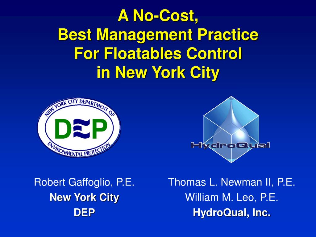 a no cost best management practice for floatables control in new york city l.
